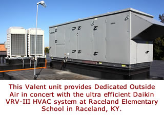 This Valent unit provides Dedicated Outside Air in concert with the ultra efficient Daikin VRV-III HVAC system at Raceland Elementary School in Raceland, KY